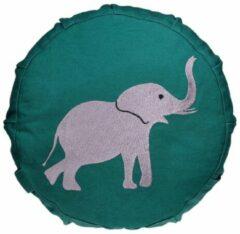 Groene Yogi & Yogini Geborduurd Meditatiekussen Voor Kinderen (Afbeelding Olifant)