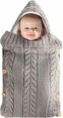 Antraciet-grijze BonBini's baby slaapzak - Baby Wandelwagen slaapzak, babydekentje met knopen - 75 x 35 cm - Light Grey