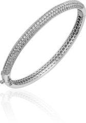 Jewels Inc. - Armband - Bangle Half Bol gezet met Zirkonia - 6mm Breed - Maat 64 - Gerhodineerd Zilver 925
