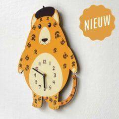 Merkloos / Sans marque Kinderklok Cheeta oranjegeel | STIL UURWERK | dieren wandklok van hout voor kinderkamer en babykamer | decoratie accessoires | jongens en meisjes slaapkamer
