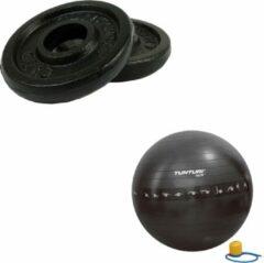 Tunturi - Fitness Set - Halterschijven 2 x 0,5 kg - Gymball Zwart met Anti Burst 55 cm