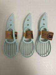 Merkloos / Sans marque Avocado mes/schiller van kunststof en metaal - set van 3 stuks (blauw)