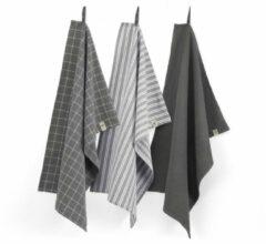 Zwarte Walra Keukenset Dry w. Cubes Uni, Stripes & Blocks - 3x 50x70 - 100% Katoen - Off Black