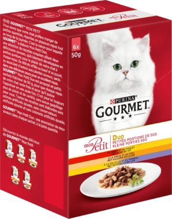 Afbeelding van Gourmet Mon Petit Duo Vlees - Rund, Kip en Gevogelte - Kattenvoer - 4x (6 x 50 g)