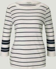 Marineblauwe TOM TAILOR Gestreept shirt met 3/4 mouwen, navy irregular stripe, L