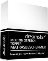 Witte Dreamstar Hoeslaken Molton stretch Topper 160x200-180x200
