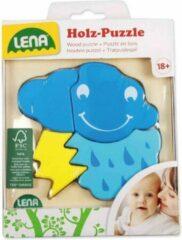 Blauwe Lena Houten Puzzel Wolk - 4 stukjes - 18M+