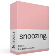 Moment By Moment Snoozing flanel kinder hoeslaken Roze Ledikant (60x120 cm) (350 roze)