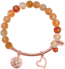 Roze CO88 Collection Beloved 8CB 50009 Rekarmband met Stalen Elementen - Zirkonia Bloem en Hart - Agaat Natuursteen 8 mm - One-size - Oranje