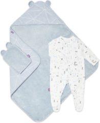 Blauwe Snuz Baby bad en bed set - Geo Breeze - handdoek en slaappakje