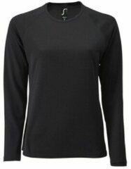 Zwarte T-Shirt Lange Mouw Sols SPORT LSL WOMEN