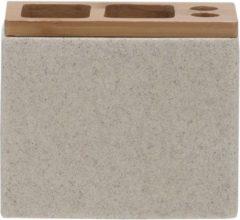 Sealskin Grace tandenborstelhouder 12.3x10.2x6cm vrijstaand rechthoek Polyresin with Bamboo Zand 361910365