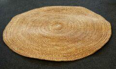 Beige Nusa Originals - Handgevlochten Vloerkleed - Diameter 150cm - Duurzaam & Fairtrade
