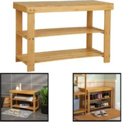 Schoenenbank bamboe hout - Voor 6 paar schoenen - 70 cm breed - Rek met 2 etages - Opbergrek met moderne uitstraling - Ook als schoenenrek / open badkamerrek / organizer voor badkamer - Decopatent®