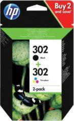 HP 302 - X4D37AE - Inktcartridges Zwart + Kleur ( Cyaan / Magenta / Geel )