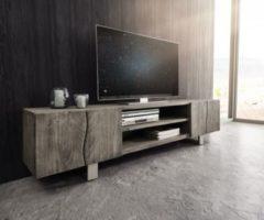 DeLife Fernsehtisch Live-Edge Akazie Platin 200 cm 4 Türen 2 Fächer Baumkante Lowboard