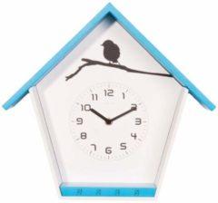 NeXtime Cuckey - Klok - Huis - Hout - 33x30x11 cm - Blauw/ Wit