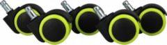 AMSTYLE 5er Set leichtgängige Hartbodenrollen für Bürostuhl 11 mm Stift / Durchmesser 50 mm Grüne Premium Bürostuhlrollen Dreh-stuhlrollen für harte