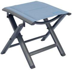 Luxus Fußhocker gepolstert mit Quick Dry Foam Garten Aluhocker Gartenmöbel Sitzhocker Camping Hocker Meerweh blau