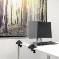 Transparante SMIT VISUAL Scheidingsscherm plexiglas 58x75 cm voor bureau/tafel, inclusief bureauklemmen dubbel bureau