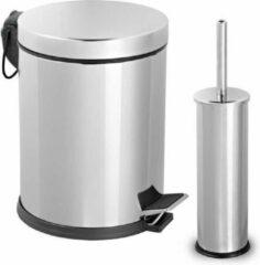 Roestvrijstalen Tiss - Pedal Bin RVS Pedaalemmer 2-delig- badkamer en toilet- 5 l - RVS
