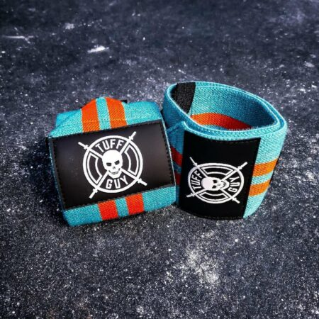 Afbeelding van Blauwe Tuff Guy Sports Tuff Guy - Professionele Wrist Wraps - Blue and Orange - Gulf Racing - Comfort, Support en Hulp bij Functional Fitness, Bodybuilding, Gewichtheffen en Crossfit