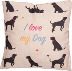 Beige Puckator Sierkussen 10 honden I love my dog