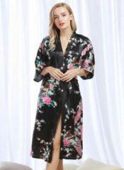 Spaansejurk NL Chinese Kimono badjas ochtendjas zwart satijn dames maat XXL