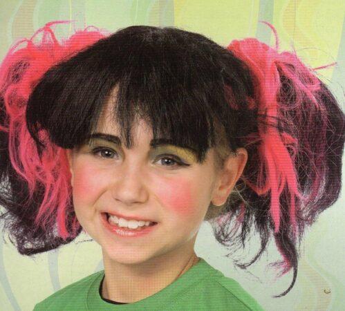 Afbeelding van Roze Party lits Pruik meisje punk