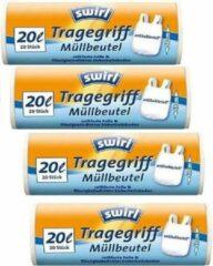Witte Swirl pedaalemmerzakken met handvatten antibact.20ltr Multipack 4 rollen van 20 stuks