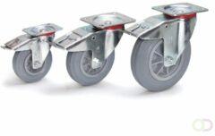 Fetra Zwenkwiel met rem 160 x 40 mm, Massief streeploos rubber wiel