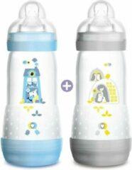 Blauwe MAM Anti-Colic Easy Start-fles - 320 ml - Flow speen 3 - Set van 2 - Boy