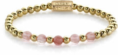 Rebel & Rose Rebel and Rose RR-60081-G Rekarmband Beads Yellow Gold meets Cherry Rose goudkleurig-roze 6 mm XS 15 cm