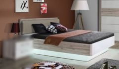 Bett 140 x 200 cm Sandeiche weiss Hochglanz FORTE MÖBEL Rondino