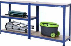 Blauwe SONGMICS opbergplank 180 x 90 x 40 cm zware plank max. Belastbaar met 875 kg Kelderplank met poedergecoat oppervlak inhaakplank GLR40Q