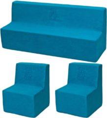 Go Go Momi Zachte Foam meubels borduurwerk set: 2xbank + Bank voor kinderen, kinderen, comfortabel, ontspannen - Blauwe