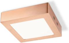 HOME SWEET HOME LED plafondlamp ska vierkant ↔ 17 cm koper