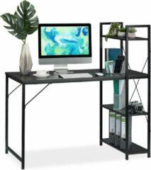 Relaxdays bureau - computertafel - modern design - met rek - laptopbureau - 4 planken Zwart / zwart