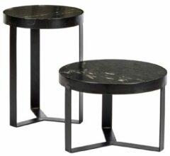 Livingfurn - salontafel Glennis Black Black - 40x55 cm - marmer en metaal