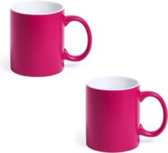 Shoppartners 2x Drinkbeker/mok fuchsia/wit 350 ml - Keramiek - Fuchsia mokken/bekers voor onbijt en lunch