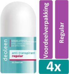Deoleen Deodorat Roller 50 ml Regular 4 stuks Voordeelverpakking