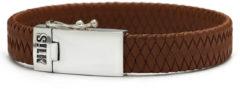 SILK Jewellery - Zilveren Armband - Alpha - 841BRN.21 - bruin leer - Maat 21