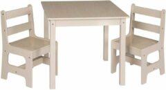 Grijze KPW Kindertafel met stoeltjes van hout - 1 tafel en 2 stoelen voor kinderen - Greywash met hout - Kleurtafel / speeltafel / knutseltafel / tekentafel / zitgroep set / kinder speeltafel - kinderzetel - stoel kind