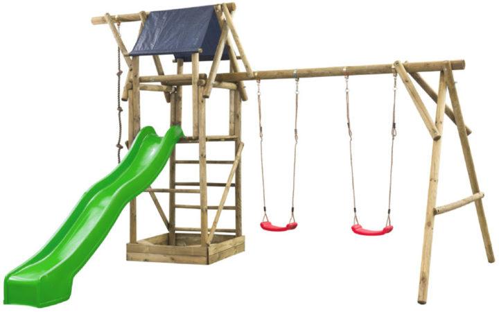 Afbeelding van SwingKing speeltoestel Niels met 2 schommels + glijbaan + zandbak - lichtgroen