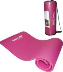 Tunturi NBR - Fitnessmat - Oefenmat met Draagtas - 180 cm x 60 cm x 1,5 cm - Roze