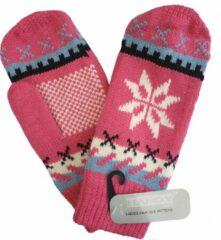Handy Fleece gevoerde dames wanten met Noors motief sneeuwvlok kleur roze maat S M