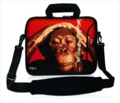 Rode False Sleevy 17,3 laptoptas rokende chimpansee - laptophoes voorvak - laptop sleeve - smalle laptoptas - reistas - schoudertas - schooltas - heren dames tas - tas laptop