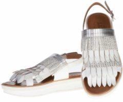 La Femme Plus - sandalen - maat 40 - dames - zilver - wit - fringes