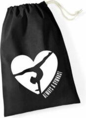 Sparkle&Dream Leertjes/Lusjes Tasje 'Love Gymnast' Zwart, voor turnen en gymnastiek