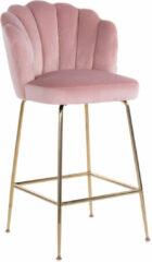 Richmond Interiors Richmond Barstoel 'Pippa' Velvet, kleur Roze (zithoogte 80cm)